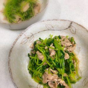 豆苗と豚肉の塩炒め