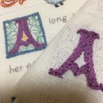 アルファベットのアウトラインステッチ