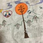 アップリケ刺繍・中央の木の刺しゅう