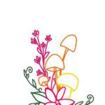 刺繍無料図案・きのこ・花・植物