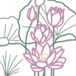 刺繍図案・蓮の花