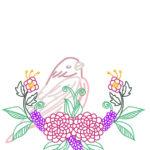 刺繍図案・ピンクの鳥と菊と植物