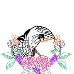 刺繍図案・鶴と菊