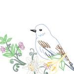 刺繍図案・鳥と百合