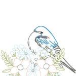 刺繍図案イラスト・つばめと花