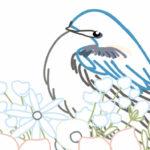 刺繍図案イラスト・つばめと青い花