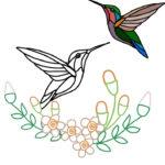 刺繍図案の練習・ハチドリ