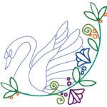白鳥と花の無料刺繍図案