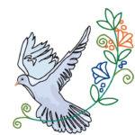 刺繍図案・鳩と植物