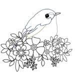 刺繍図案イラスト・花と小鳥と植物
