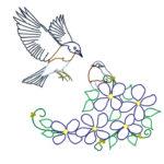 鳩と花と植物と刺繍図案イラスト練習