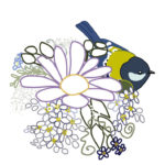 刺繍図案イラスト(青い鳥・鳩と花)