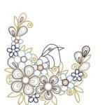 刺繍図案イラスト(ツバメと花)