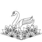 刺繍図案イラスト・白鳥と花
