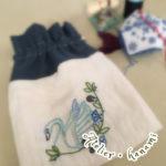 白鳥の刺繍と巾着