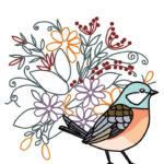 刺繍図案イラスト(鳩と花)