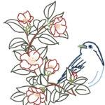 刺繍無料図案イラスト・青い鳥と椿の花