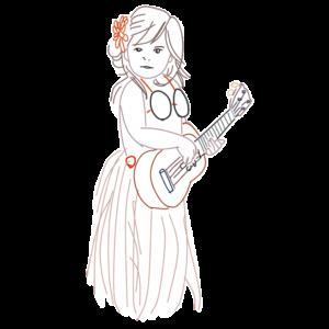 ウクレレと女の子のイラスト