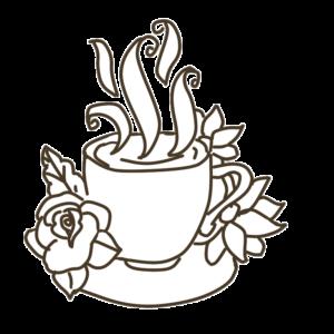 花とコーヒーカップのイラスト