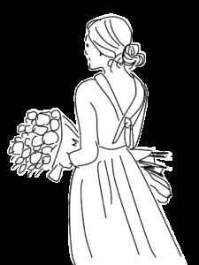 花束を持つ女性のイラスト