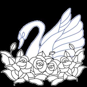薔薇と白鳥のイラスト