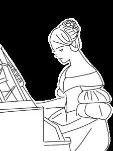 ピアノを弾く女性のイラスト