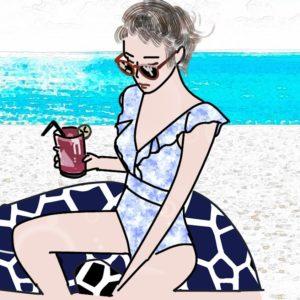 砂浜と女性のイラスト