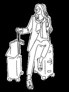旅行・キャリングケースと女性のイラスト
