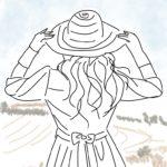 旅先にて・帽子と女性のイラスト