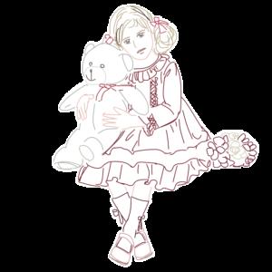 熊のぬいぐるみと女の子のイラスト1