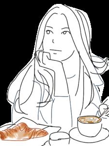 朝食・パンとコーヒーと女性