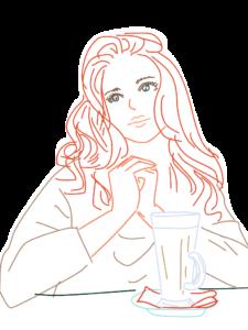 女性とカフェオレ